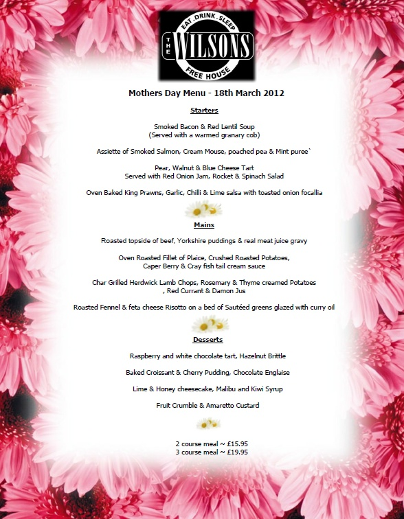 The Wilsons Mothers Day Menu